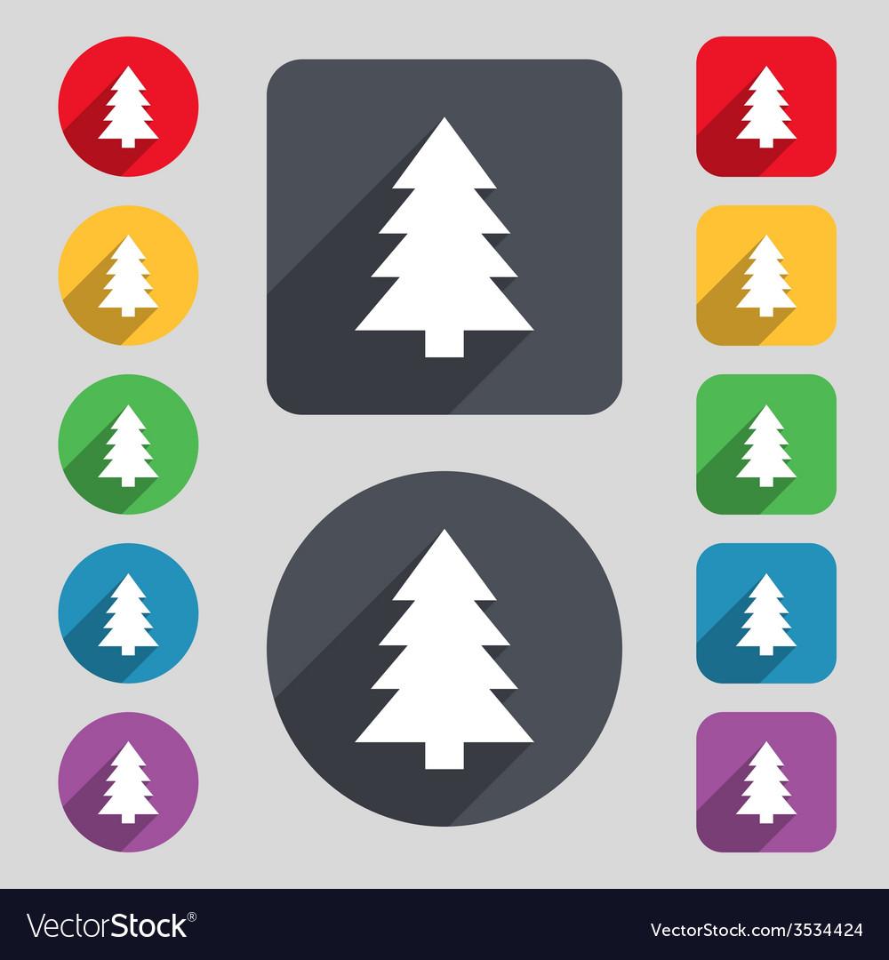 Christmas Holidays Icon.Christmas Tree Sign Icon Holidays Button Set Of