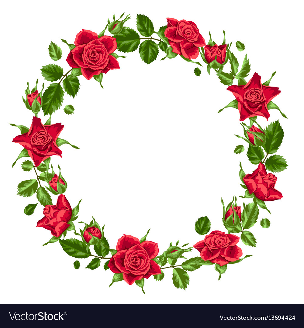 Decorative wreath with red roses beautiful