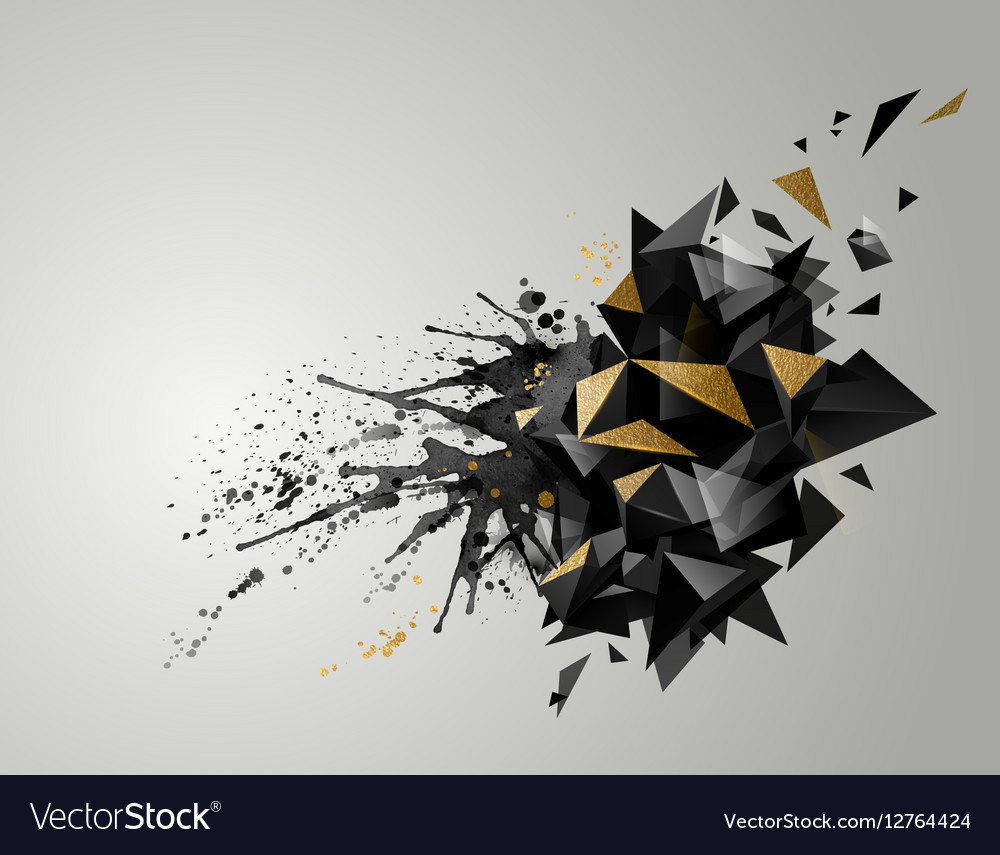 Geometric abstract banner with black color and