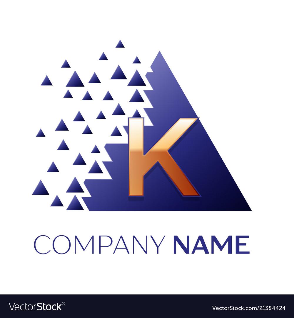 Golden letter k logo symbol in blue pixel triangle