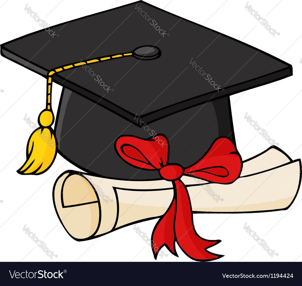 Graduate Black Cap With Diploma vector image