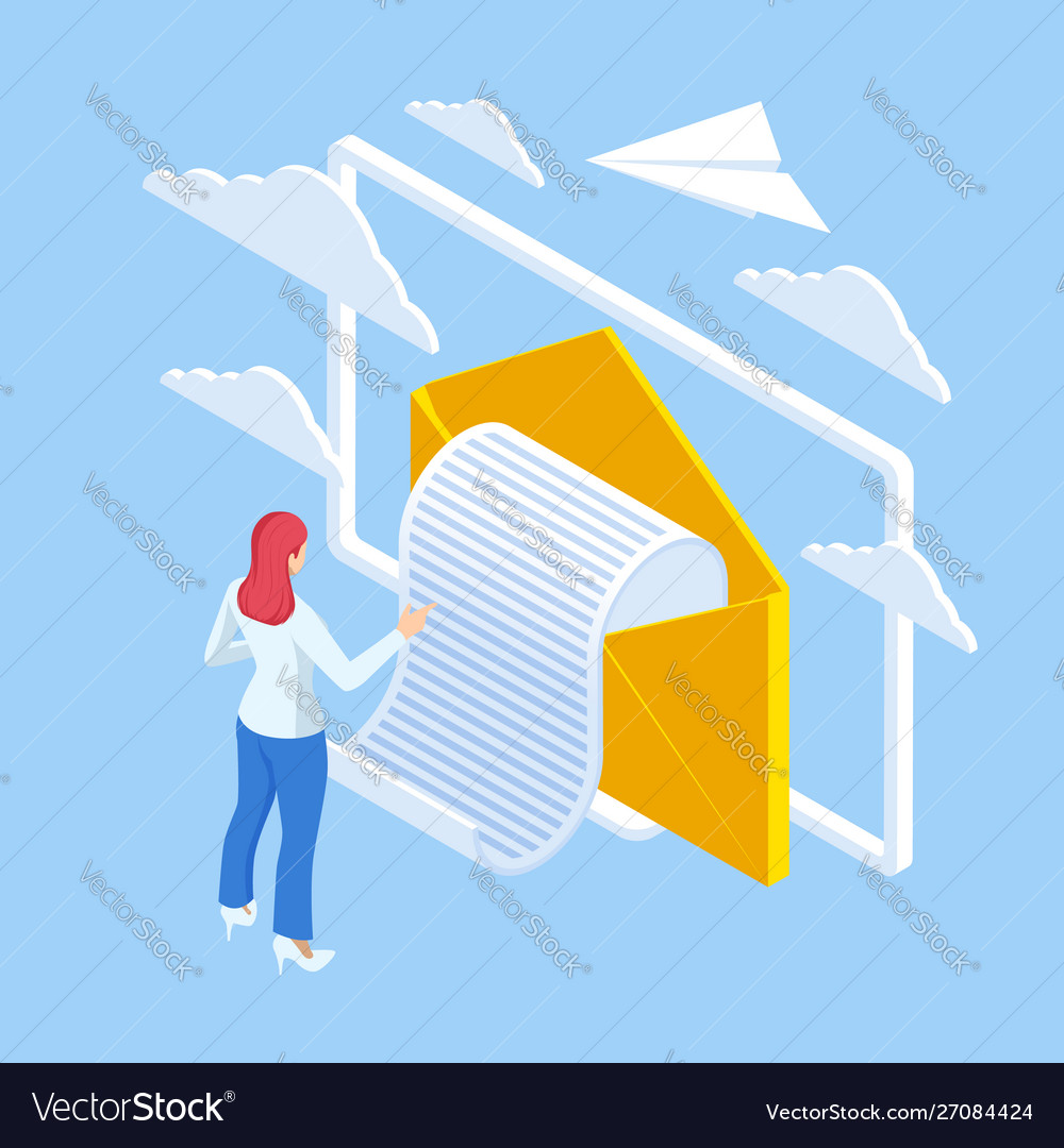 Isometric email inbox electronic communication e