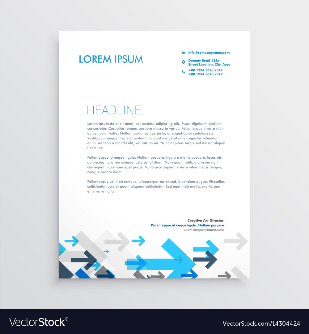 Letterhead design template with blue arrows in vector image