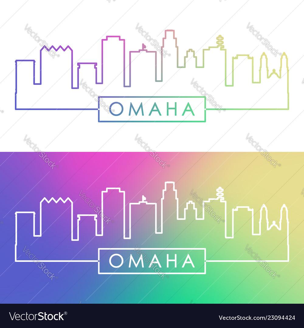 Omaha skyline colorful linear style editable