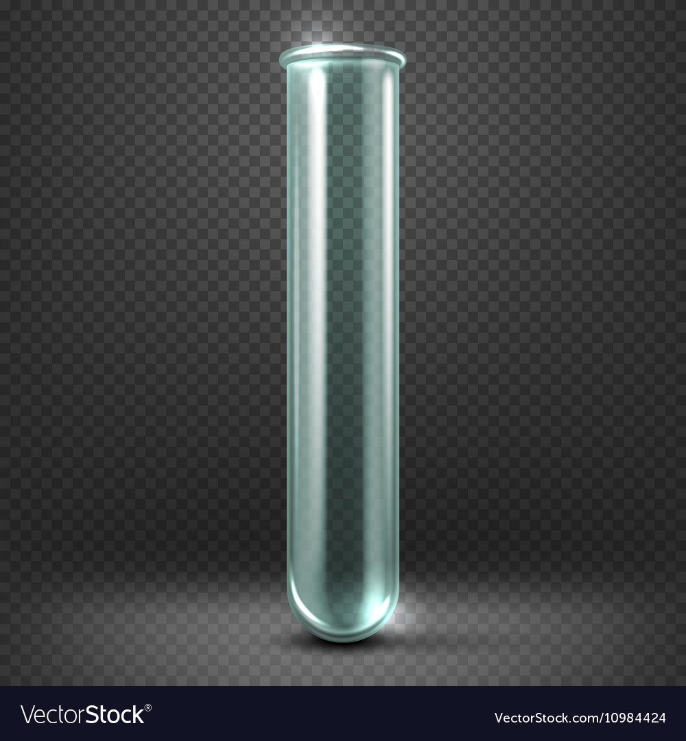 Realistic empty glass test tube template