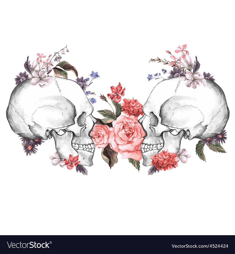 Roses and skull day the dead