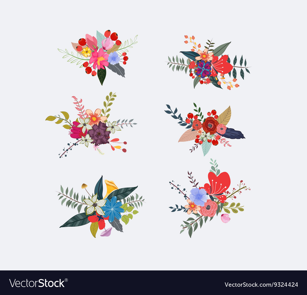 Spring floral clusters flower wreaths bouquets vector image mightylinksfo