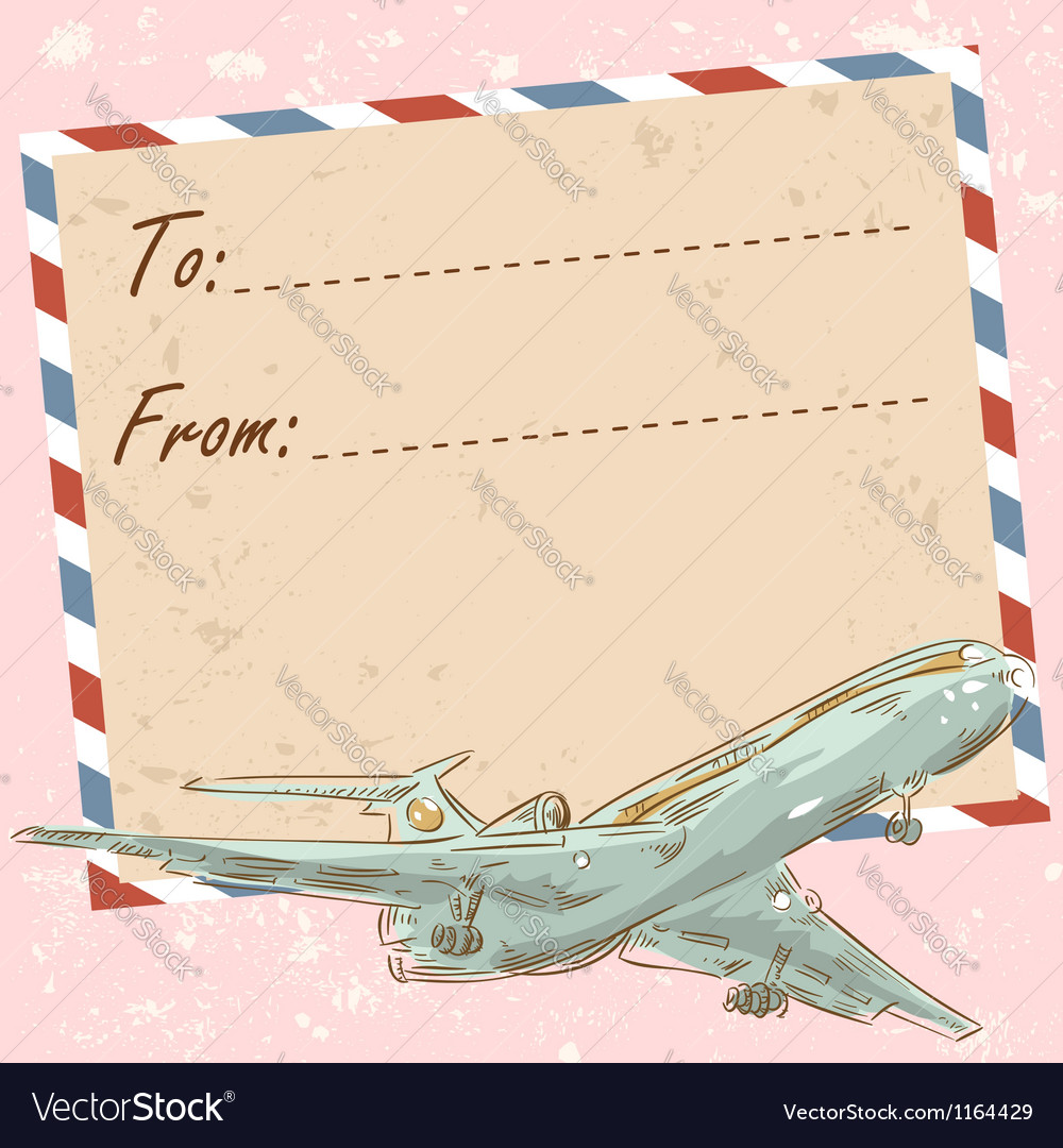 Air mail travel postcard with touristic airplane