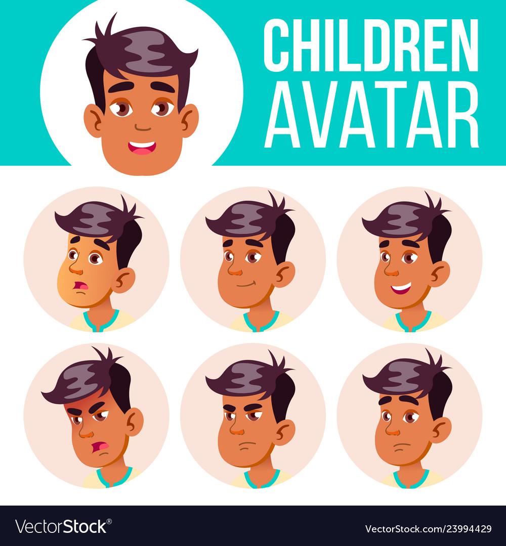 Arab muslim boy avatar set kid high