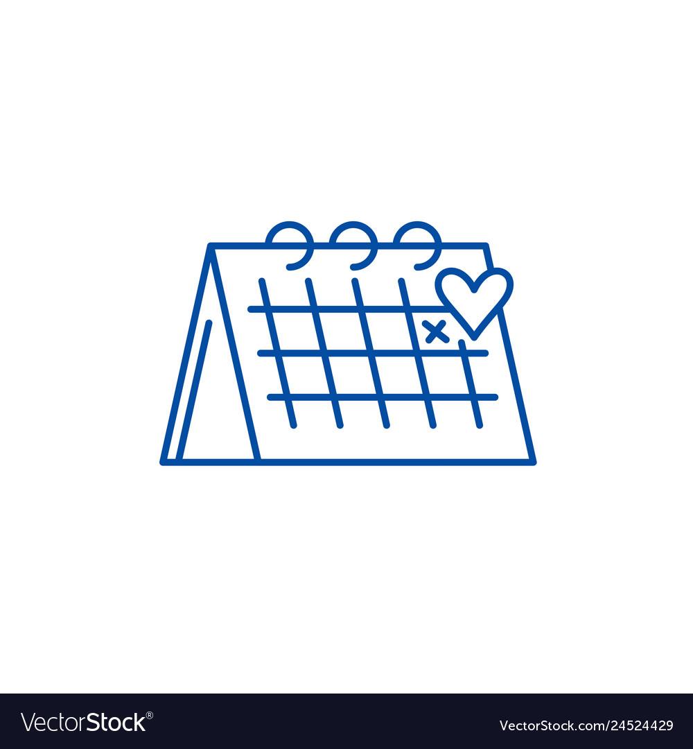 Calendar line icon concept calendar flat