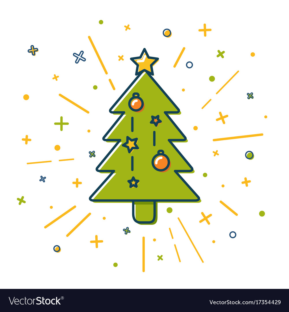 Colored christmas tree icon in thin line style