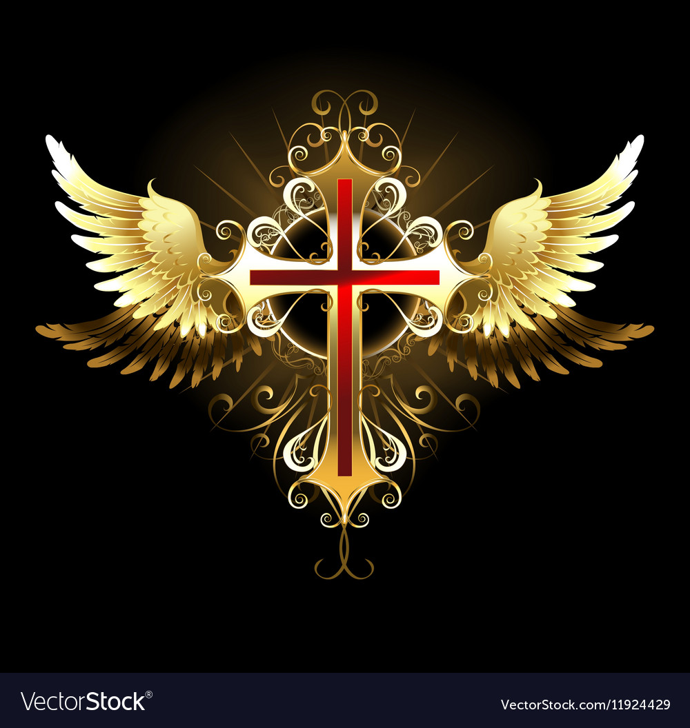 Cross With Golden Wings Vector Image