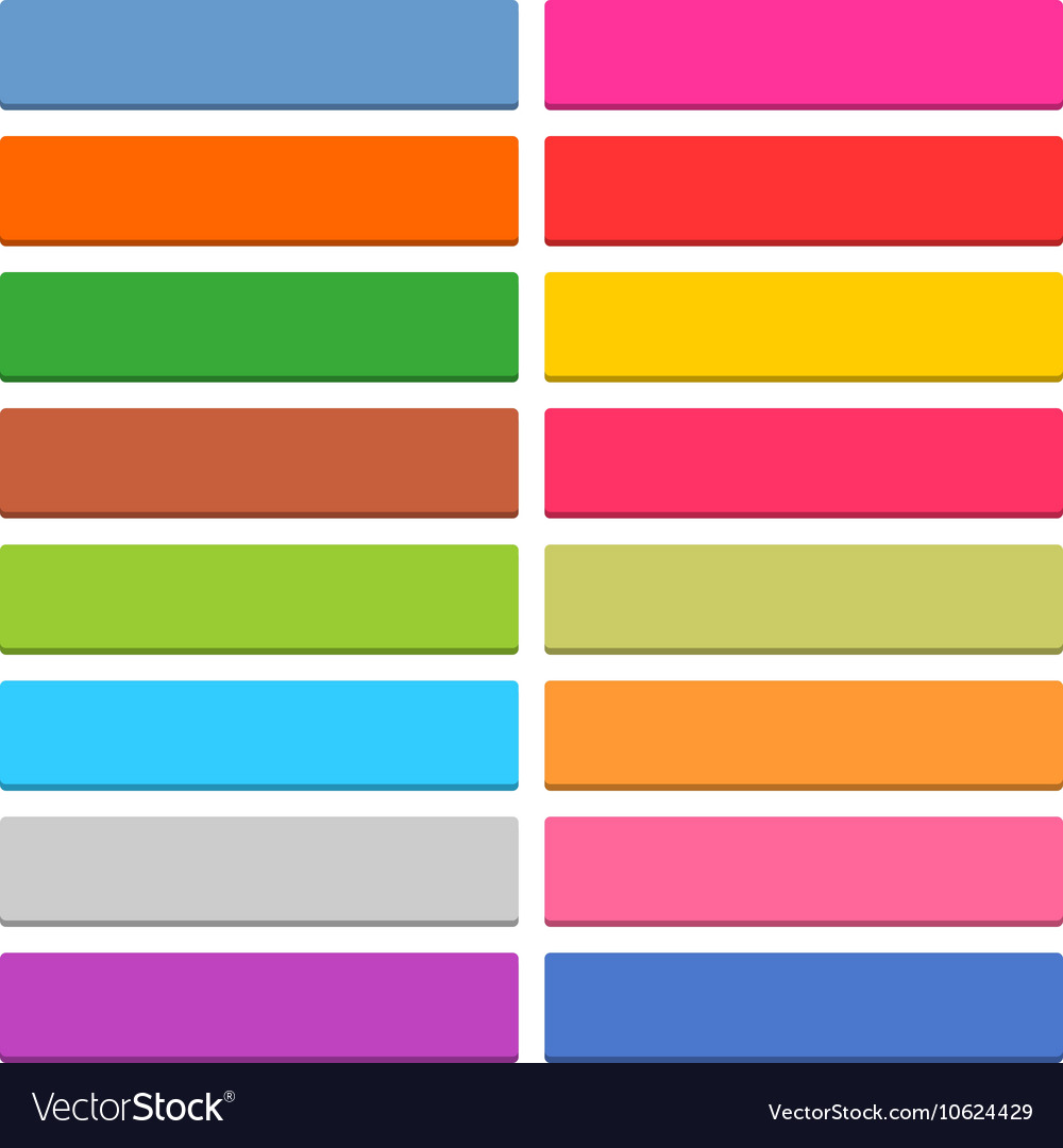 Flat blank web icon color rectangle button Vector Image