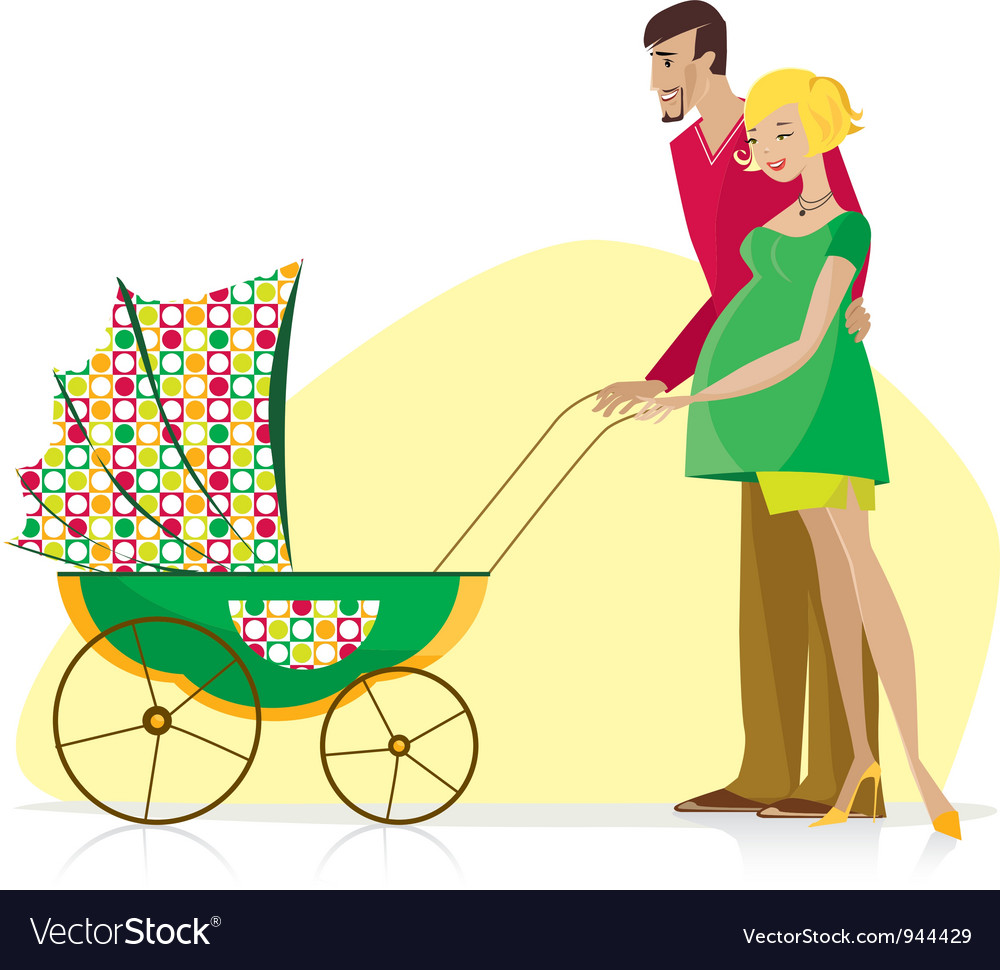 Happy couple carried baby stroller vector image