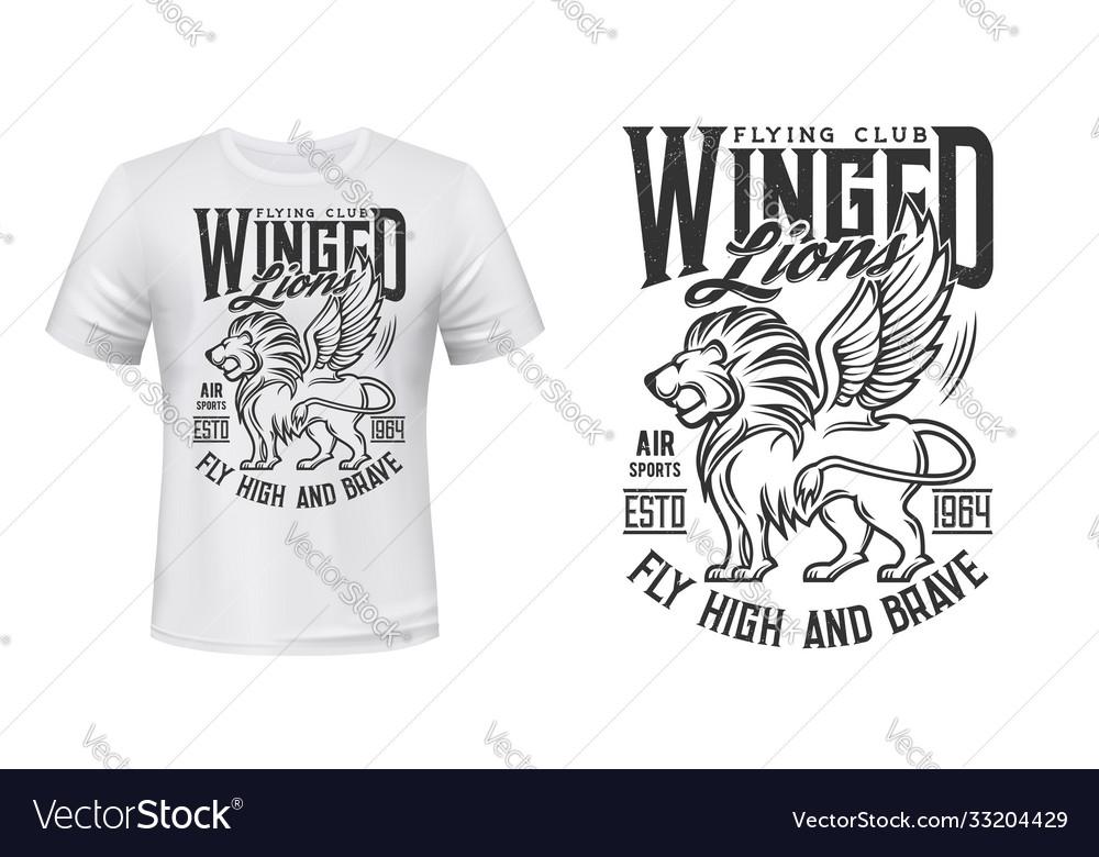 Lion print t-shirt mockup aviation flying club