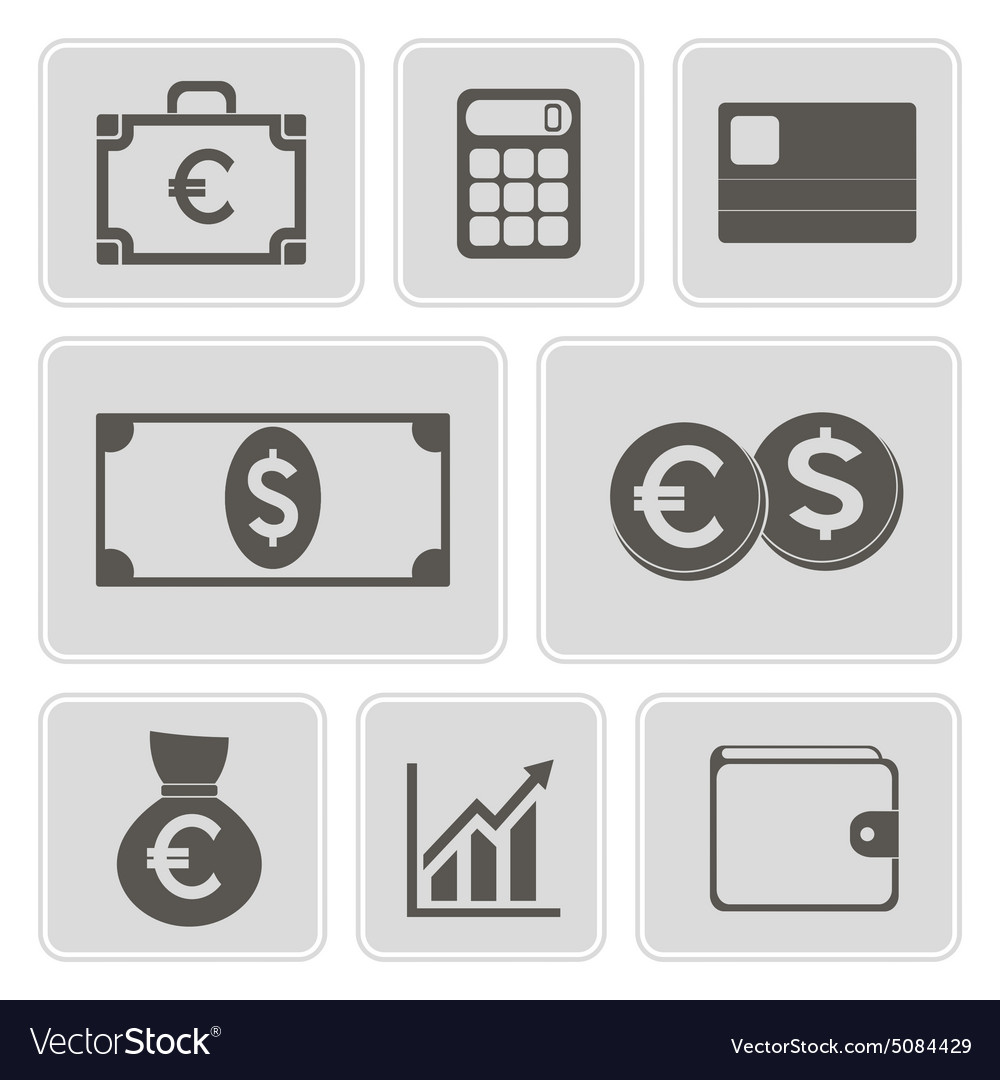 Monochrome financial icons