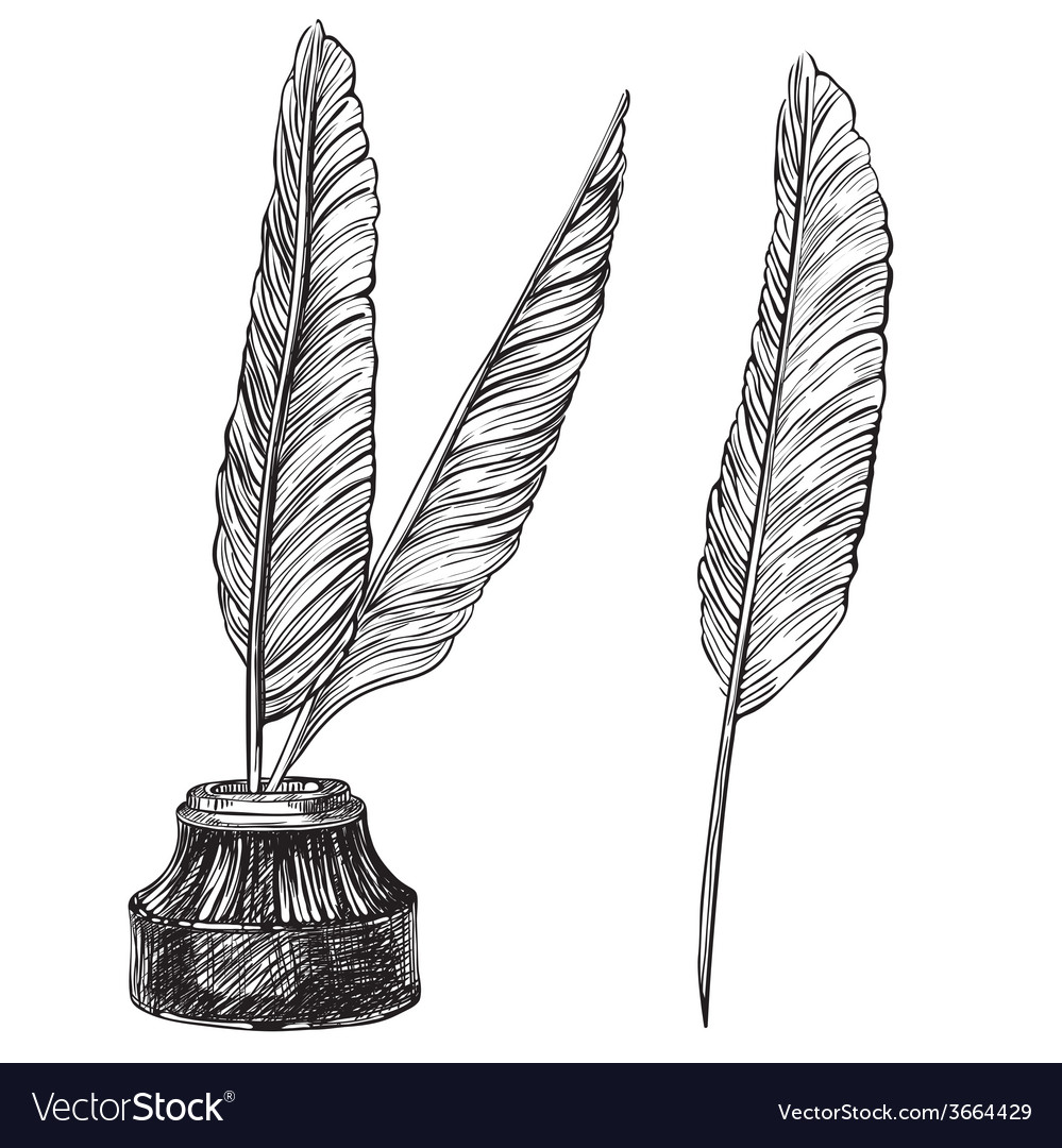 Quill Pens and inkwell vector image