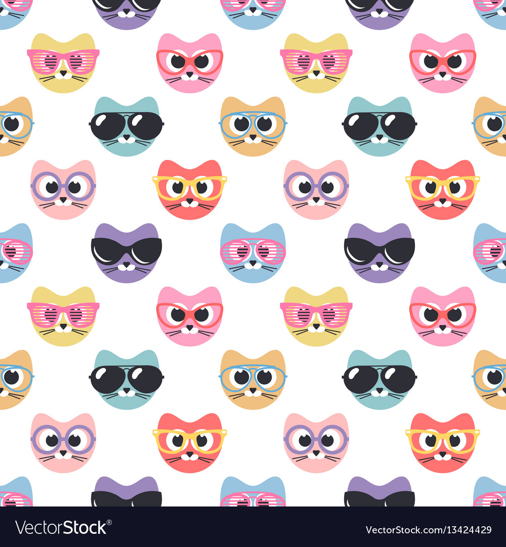 Seamless pattern with cute cats with sunglasses