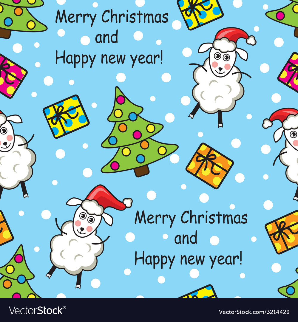 Seamless Pattern With Sheep Gifts And Christmas T