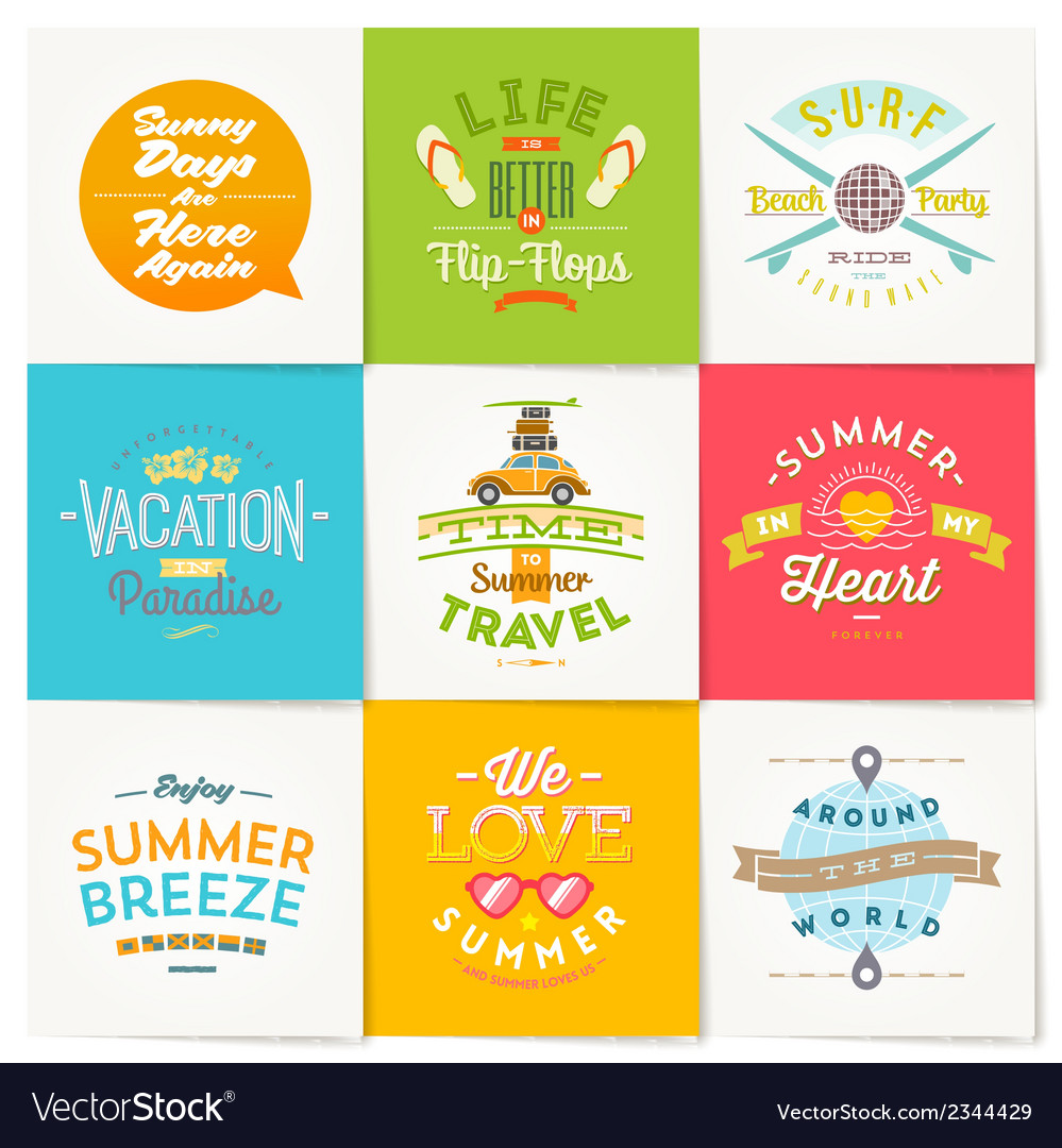 Set travel and summer vacation type design