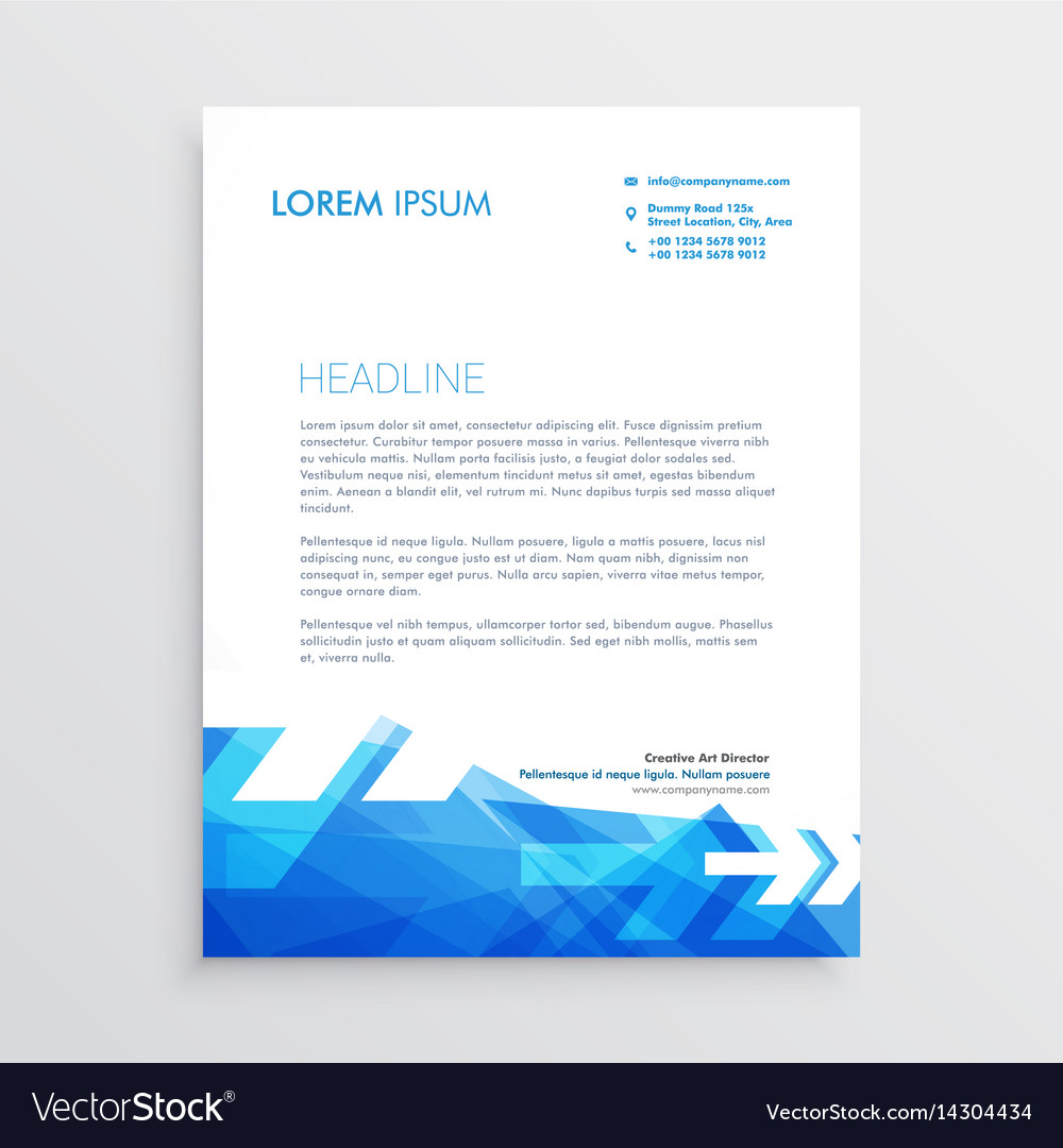 Letterhead Template | Abstract Letterhead Template In Blue Arrow Style Vector Image