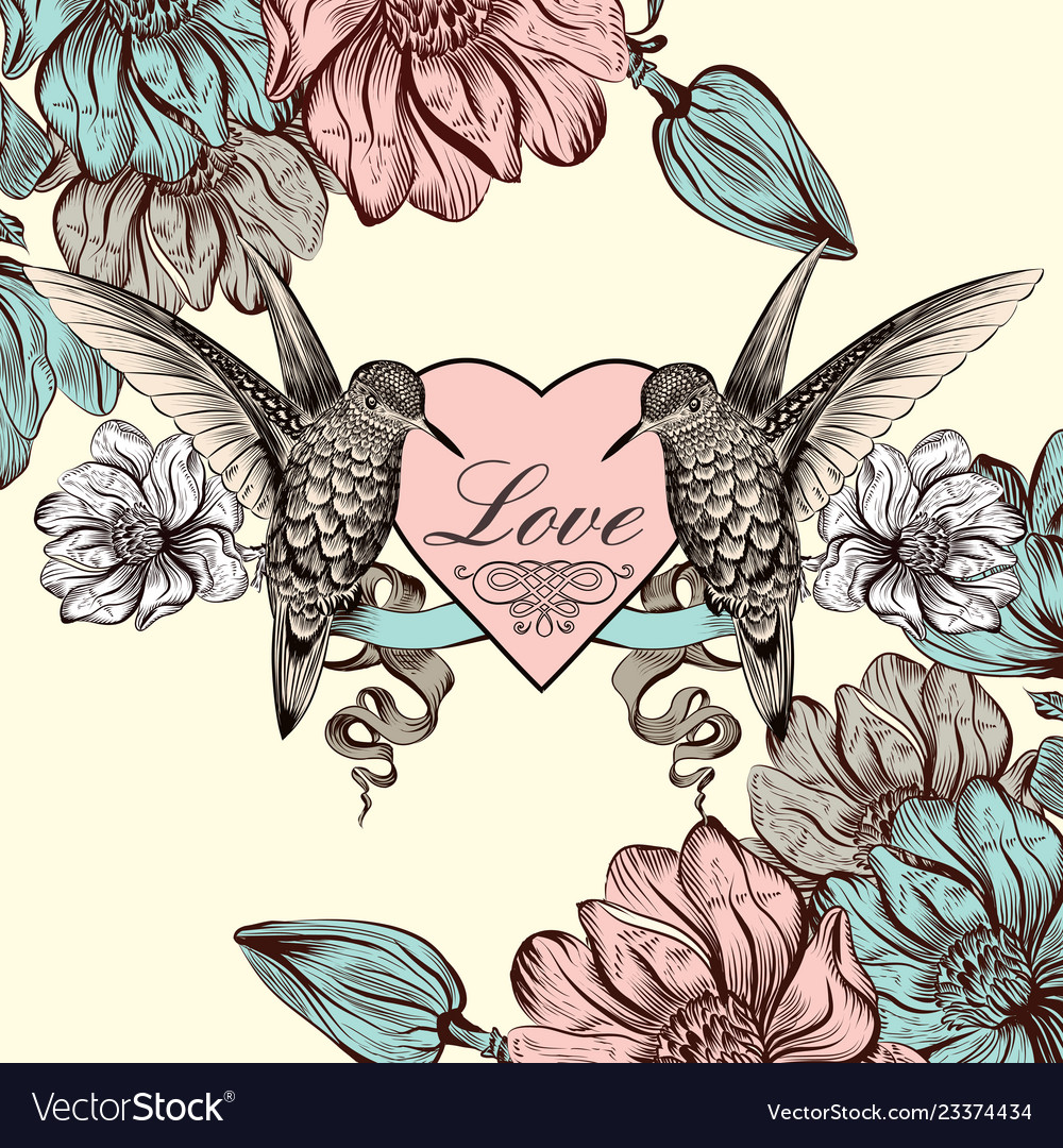 Background with magnolia flowers and bird