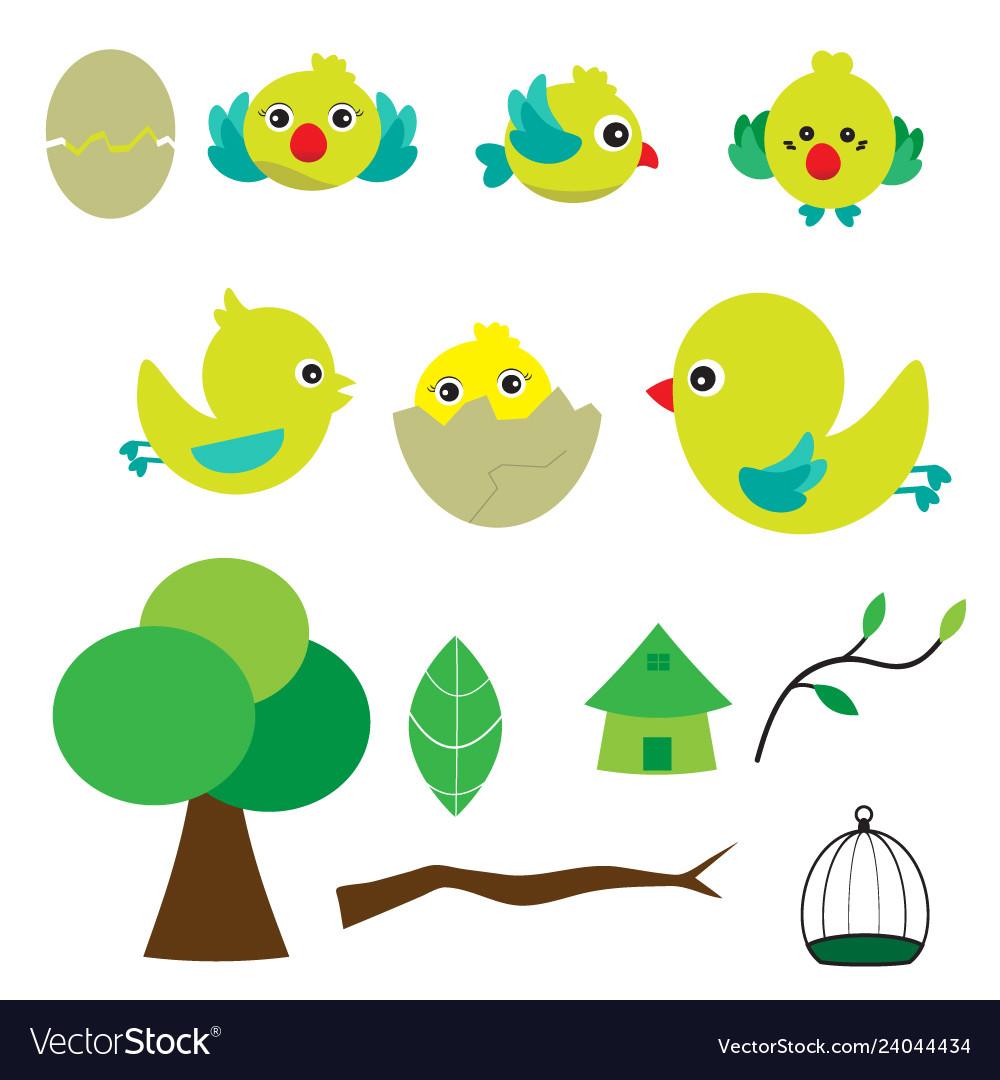 Cute bird with houses