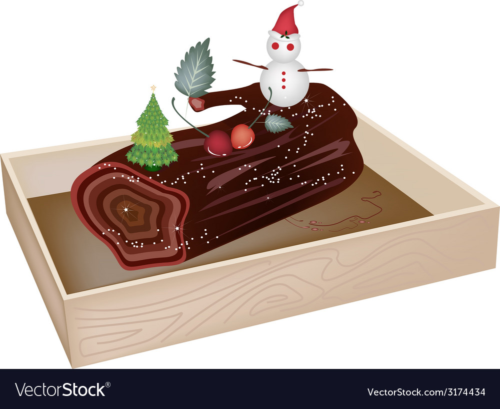 Delicious Yule Log Cake in Wooden Container vector image