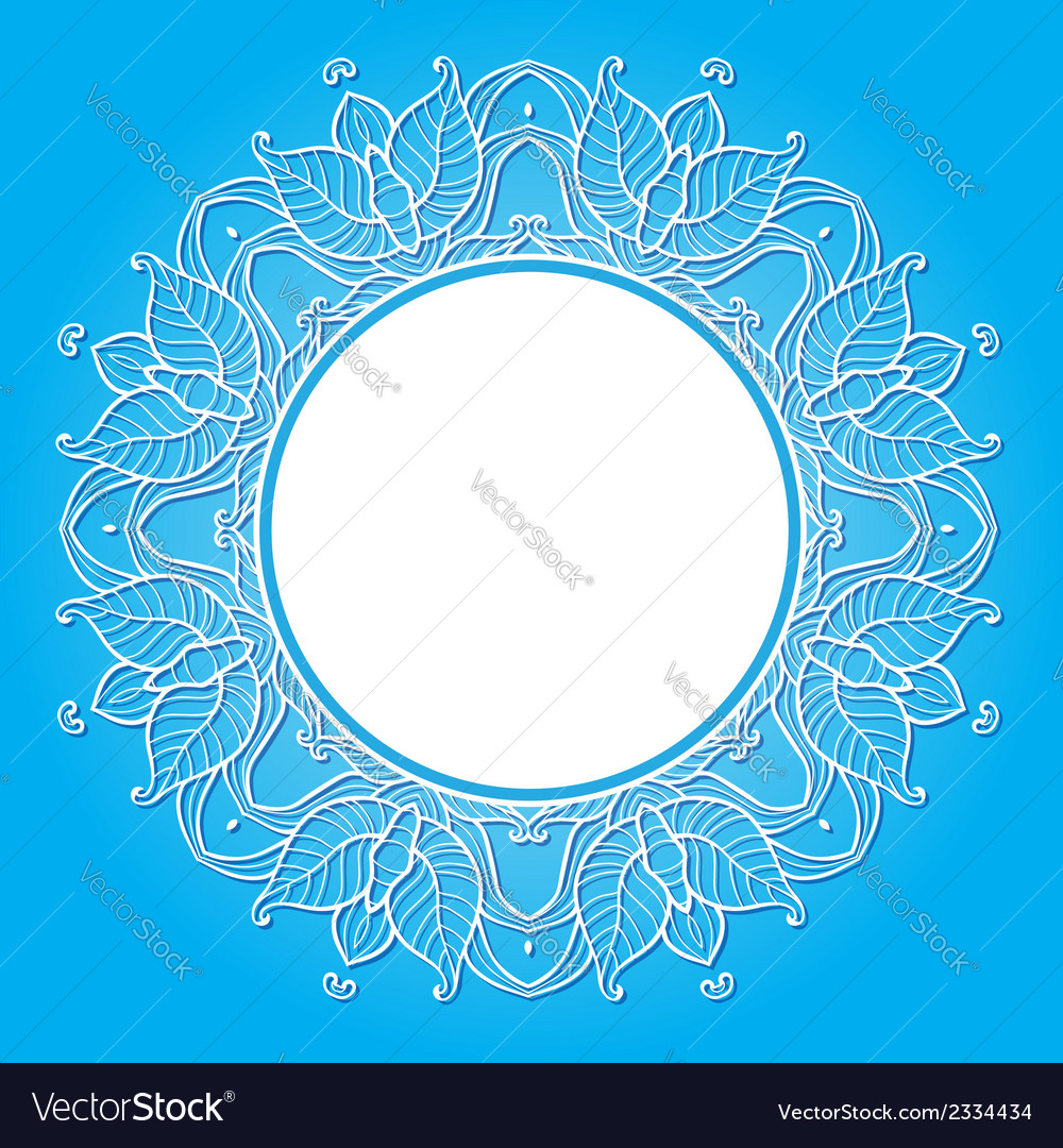 Floral frame on a blue background