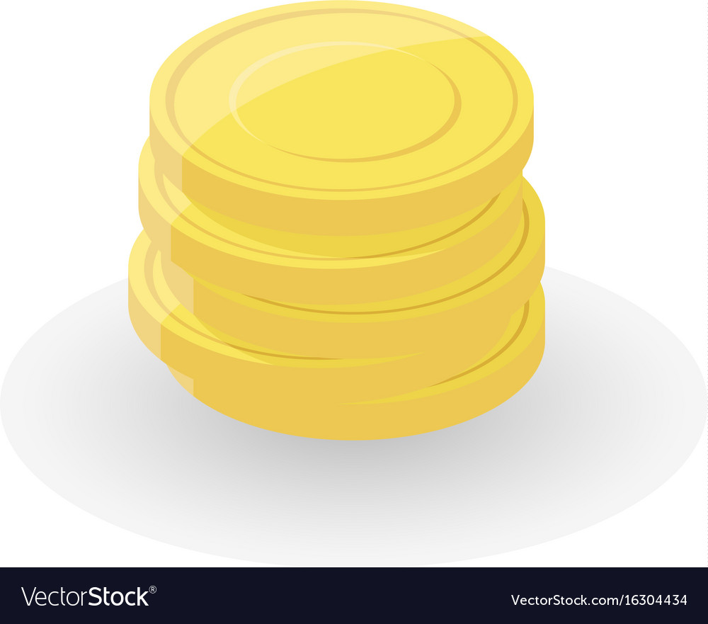 Gold coin stacks on white background