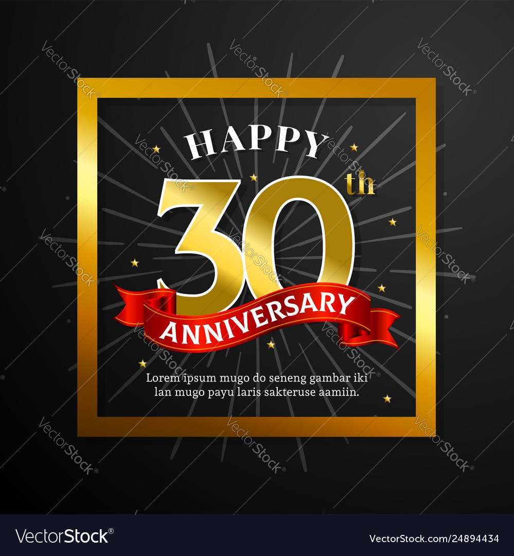 Happy 30th Anniversary Greeting Card Design Black Vector Image