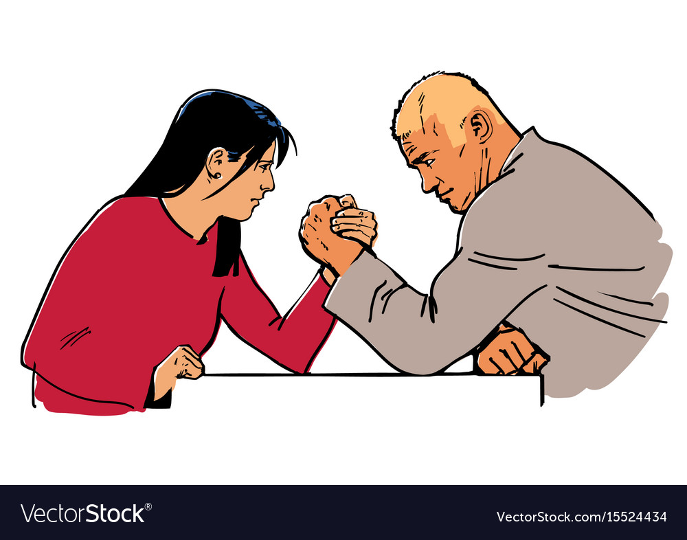 Man and woman arm wrestling vector image