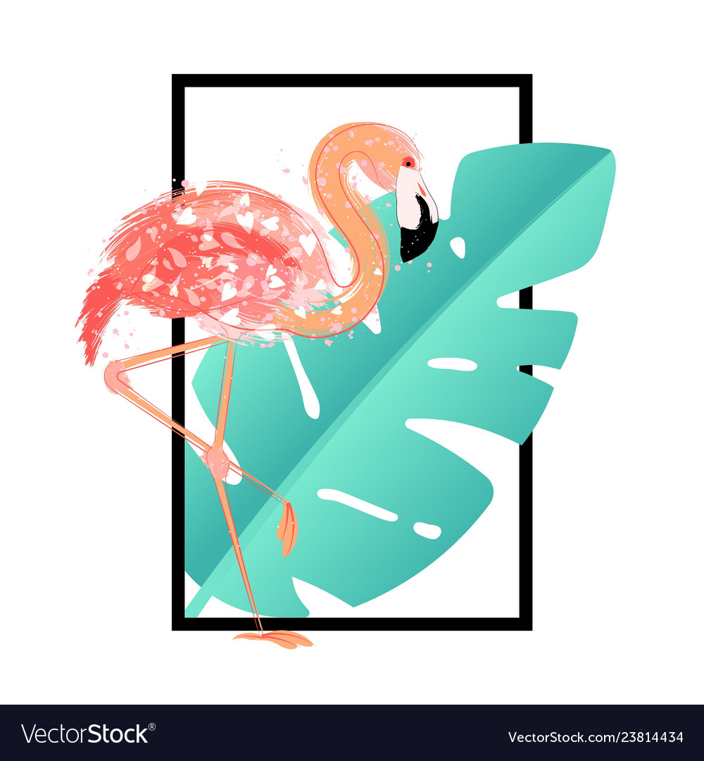 Pink flamingo with tropical leaves card