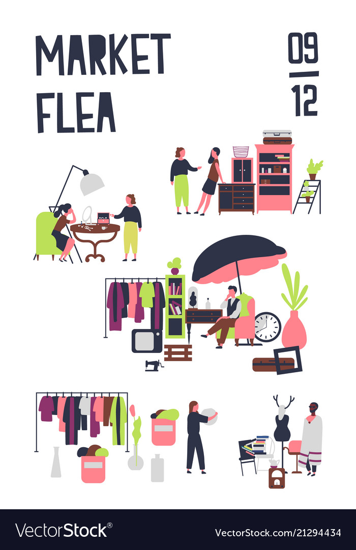 Poster template for flea market or rag fair with