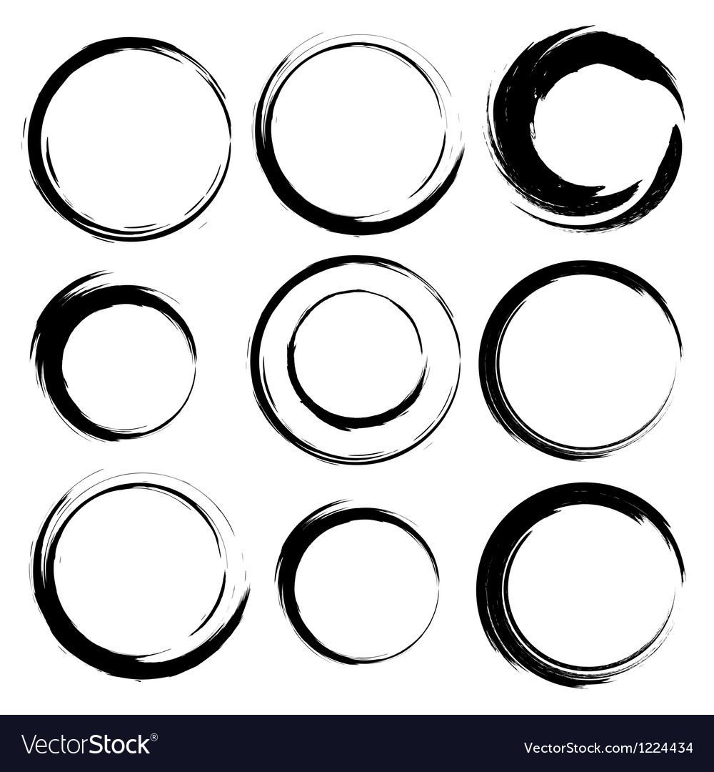Set of grunge circle brush strokes Set 4 vector image