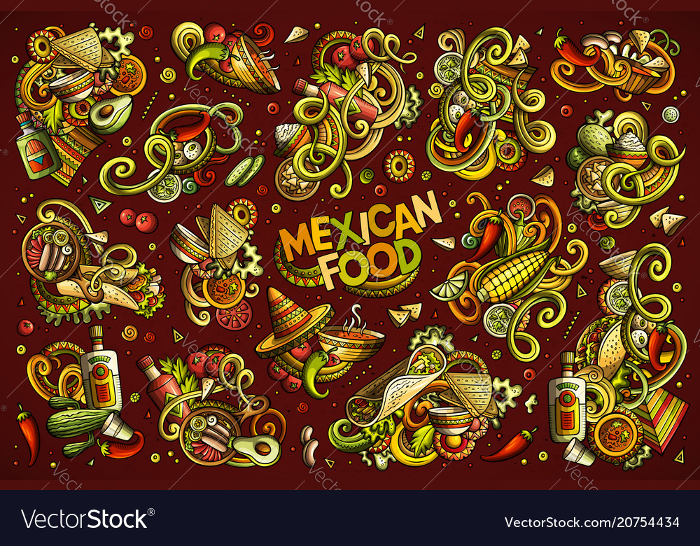 Set of mexican food combinations of objects