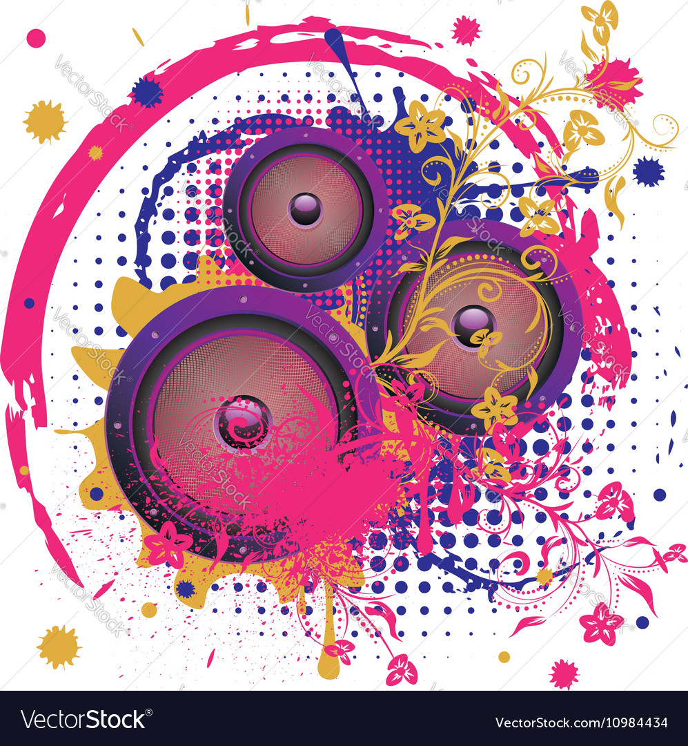 Sound Speaker with Floral5 vector image