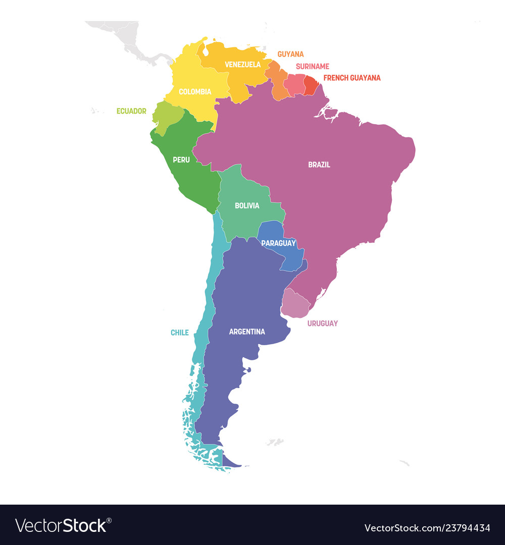 South America Region Colorful Map Of Countries In Vector Image