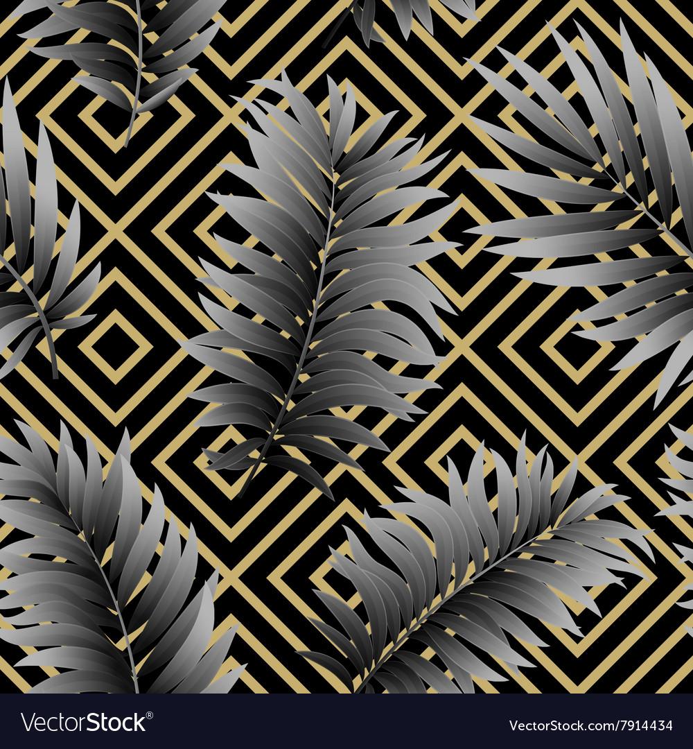 Tropical palm leaves seamless geometric