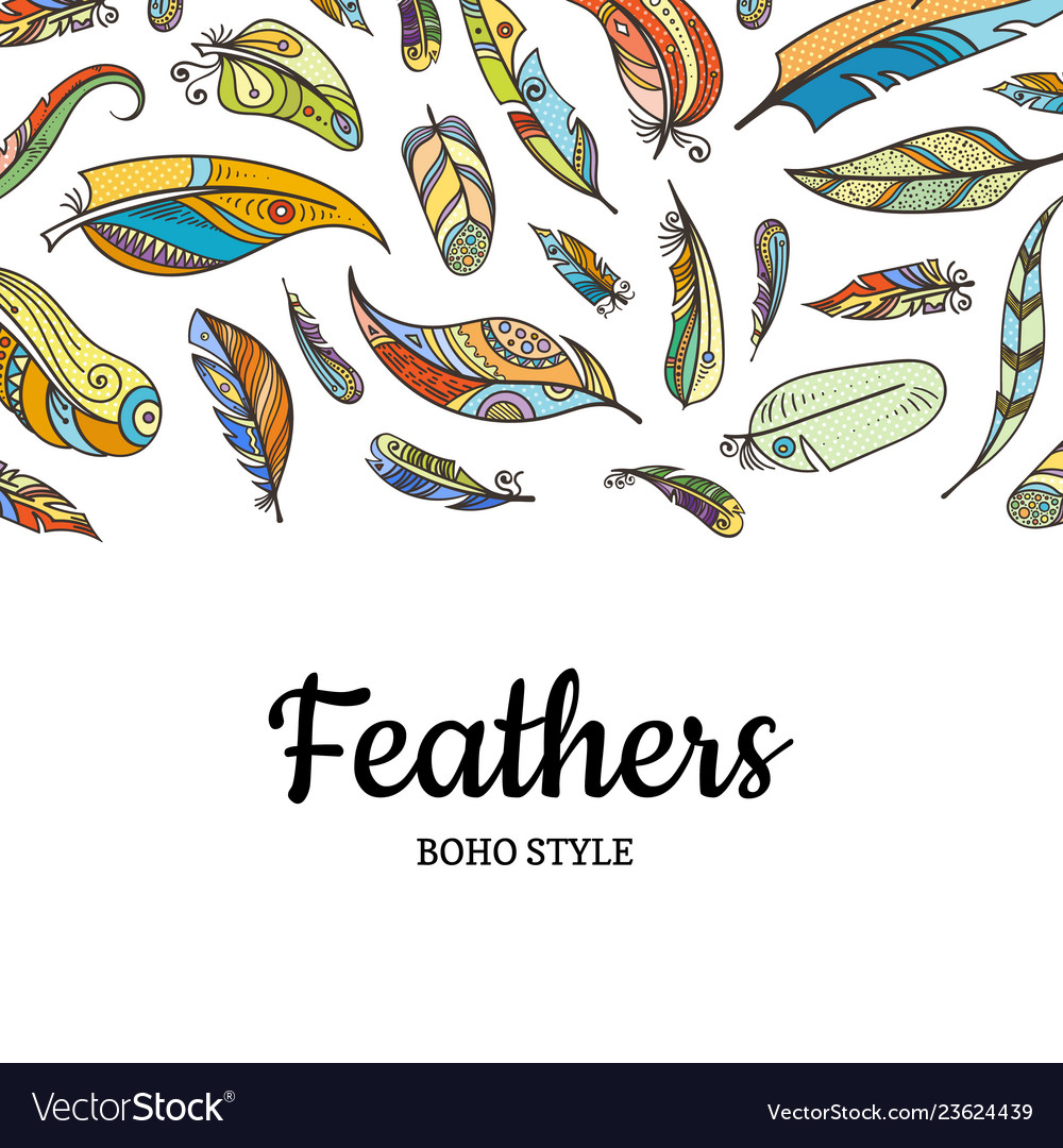 Boho doodle color feathers background