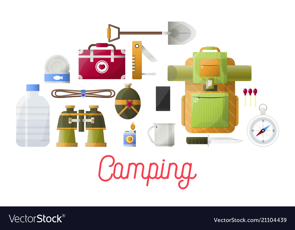 Camping basic equipment set for hikers and
