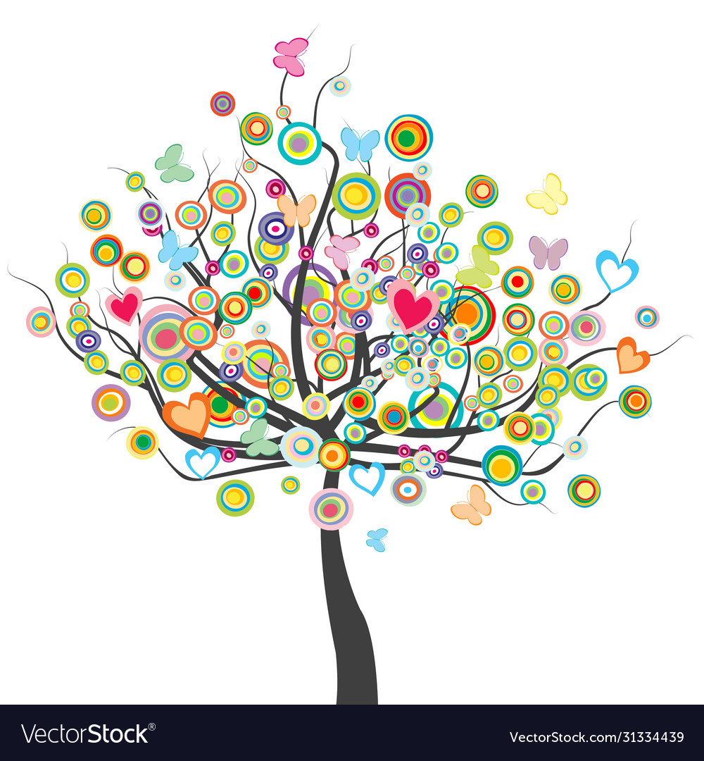 Colored tree with flowers butterflies and circle