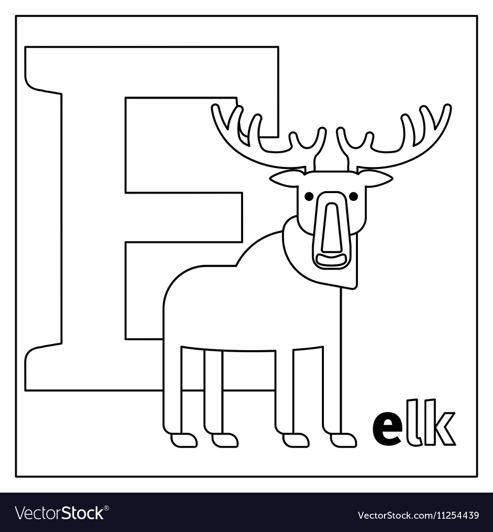 Elk Letter E Coloring Page Royalty Free Vector Image