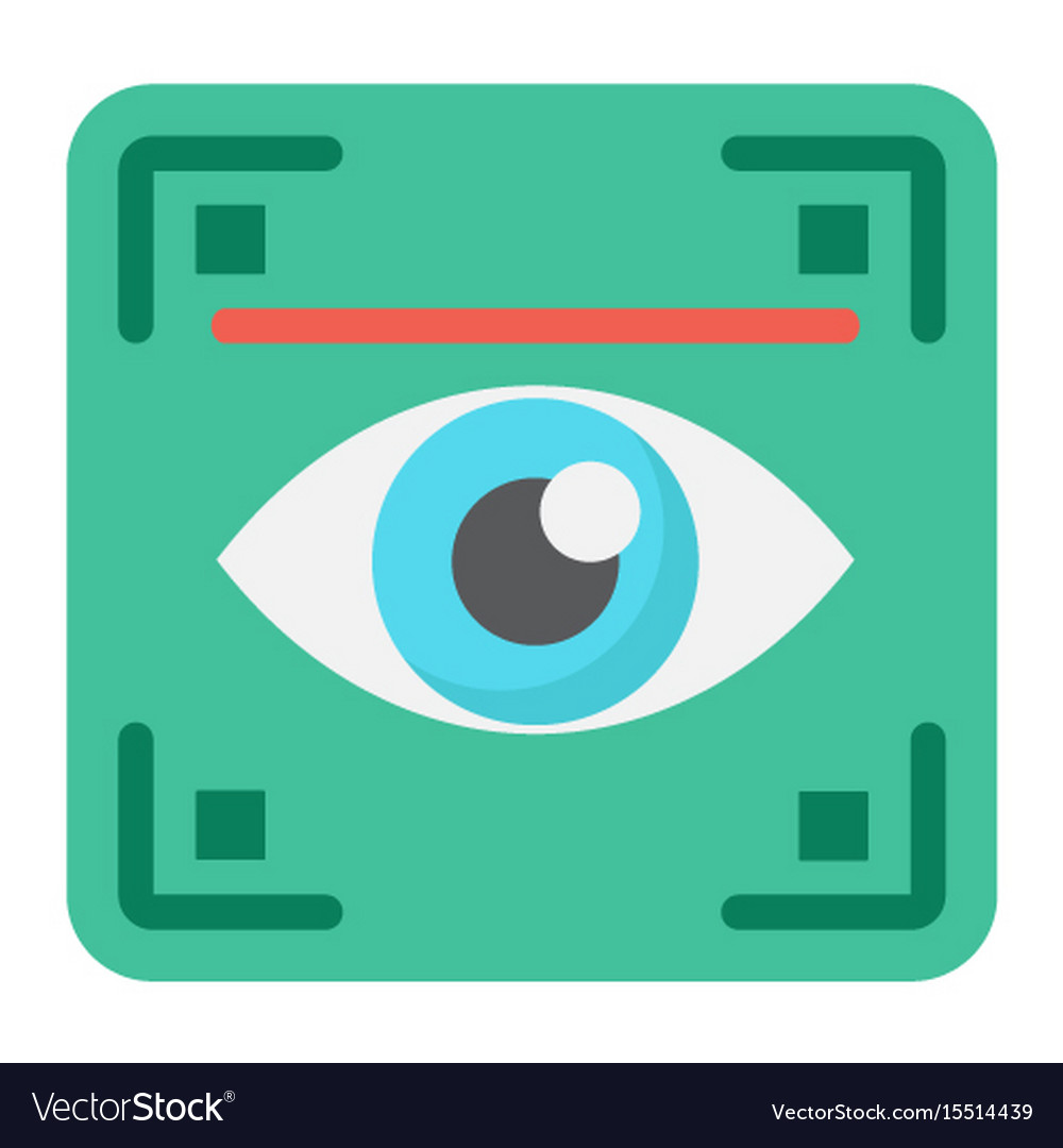 Eye scan flat icon security and iris scanner