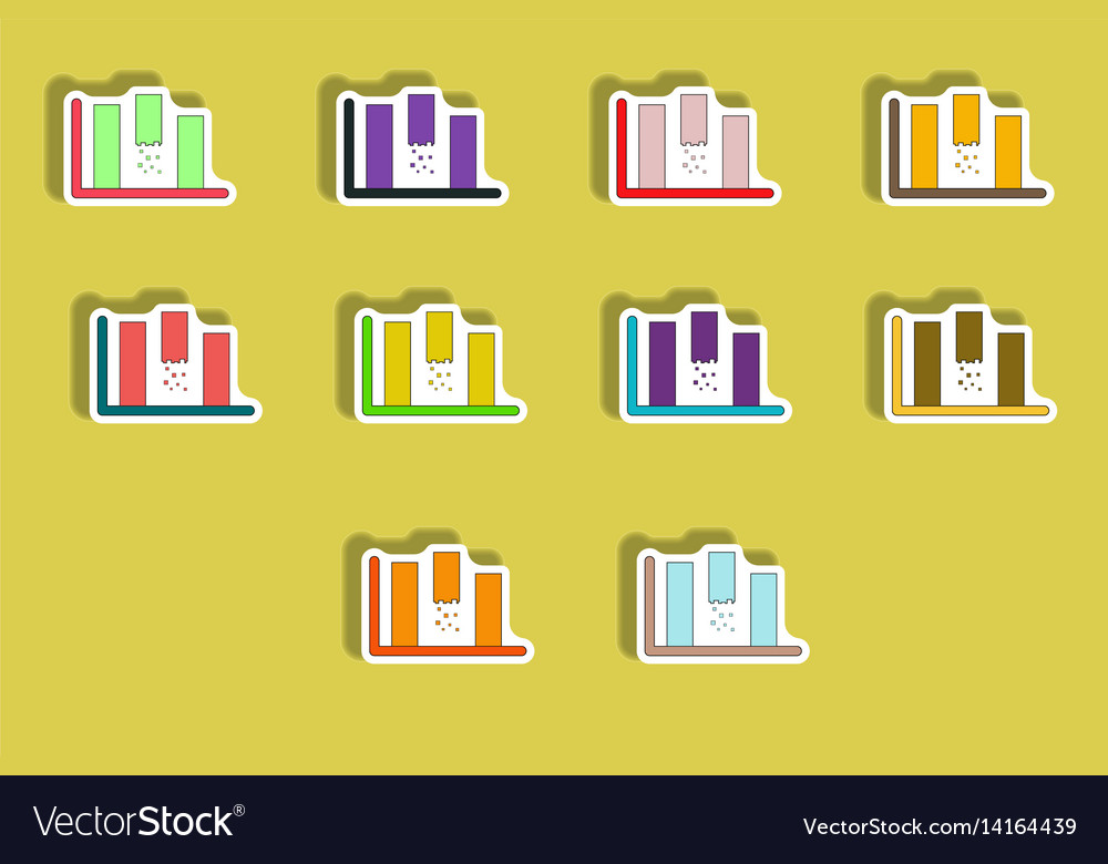 Flat icons set of column chart concept in paper