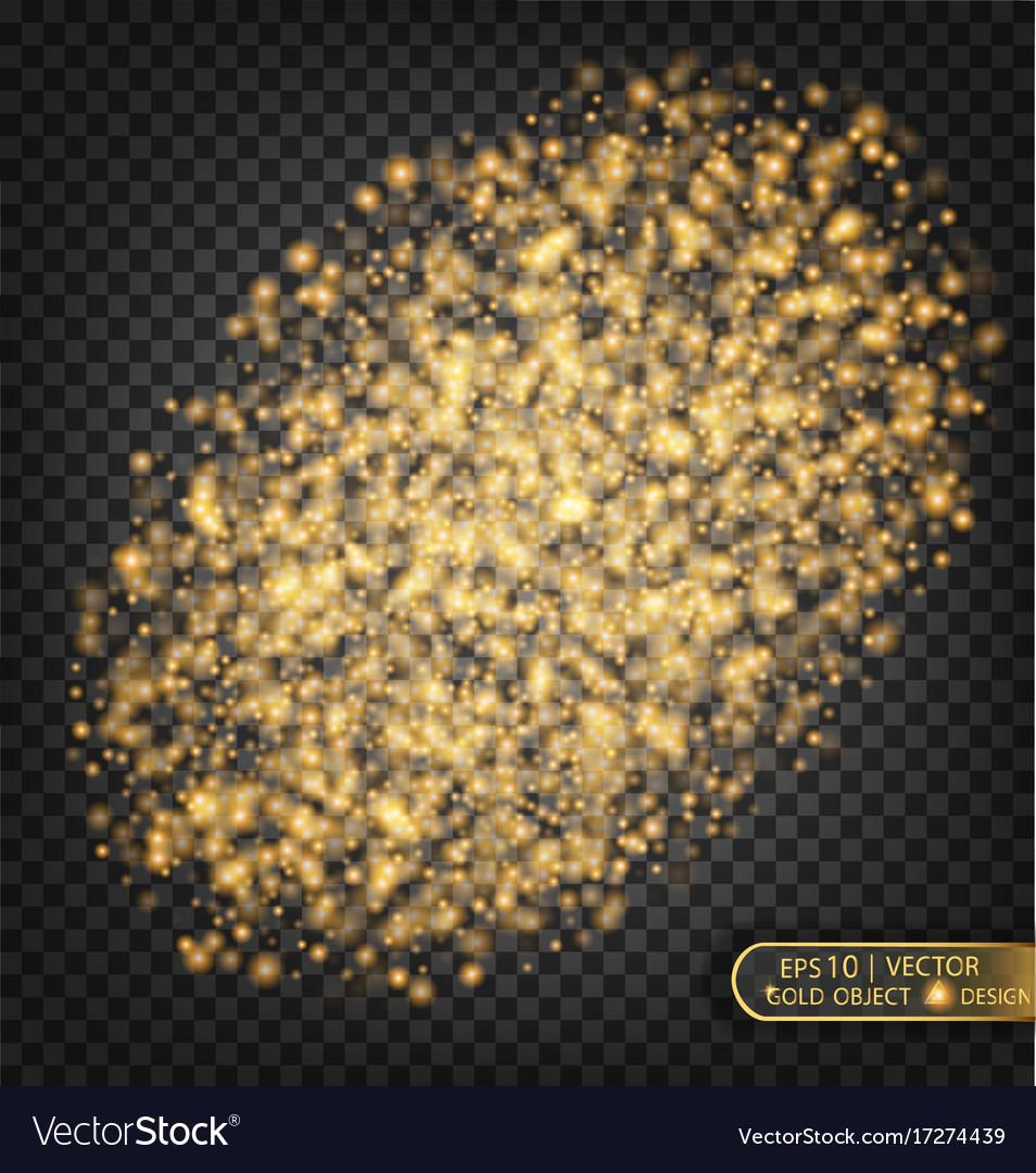 Gold sparkles on a transparent background gold