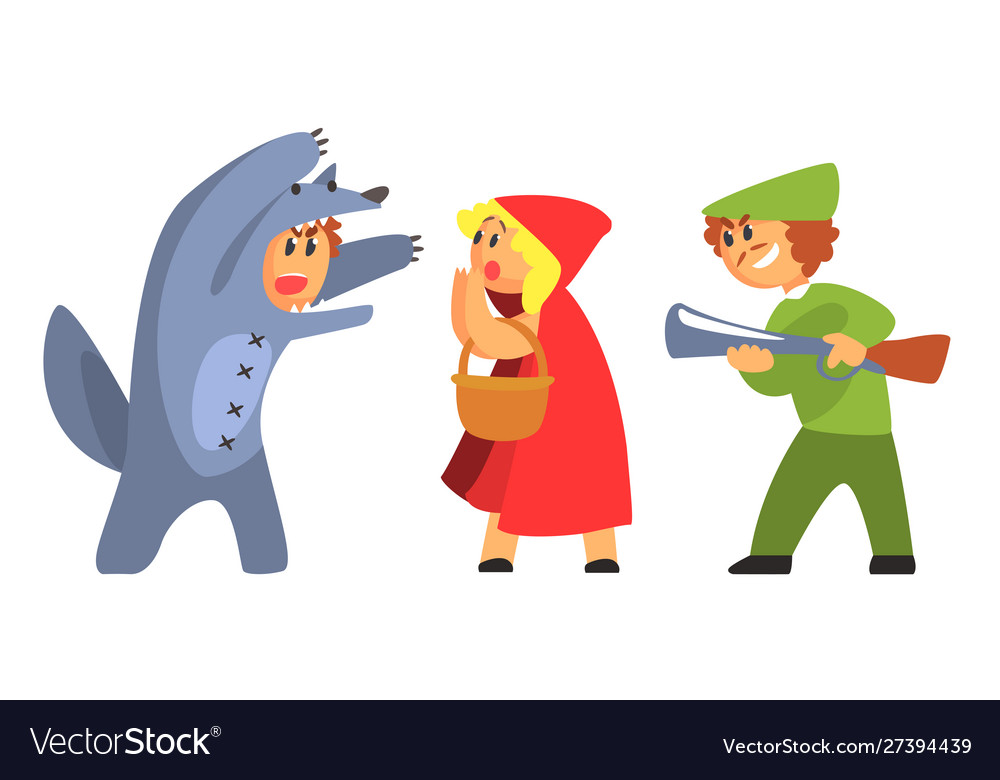 Little Red Riding Hood Wolf And Hunhter Funny Vector Image