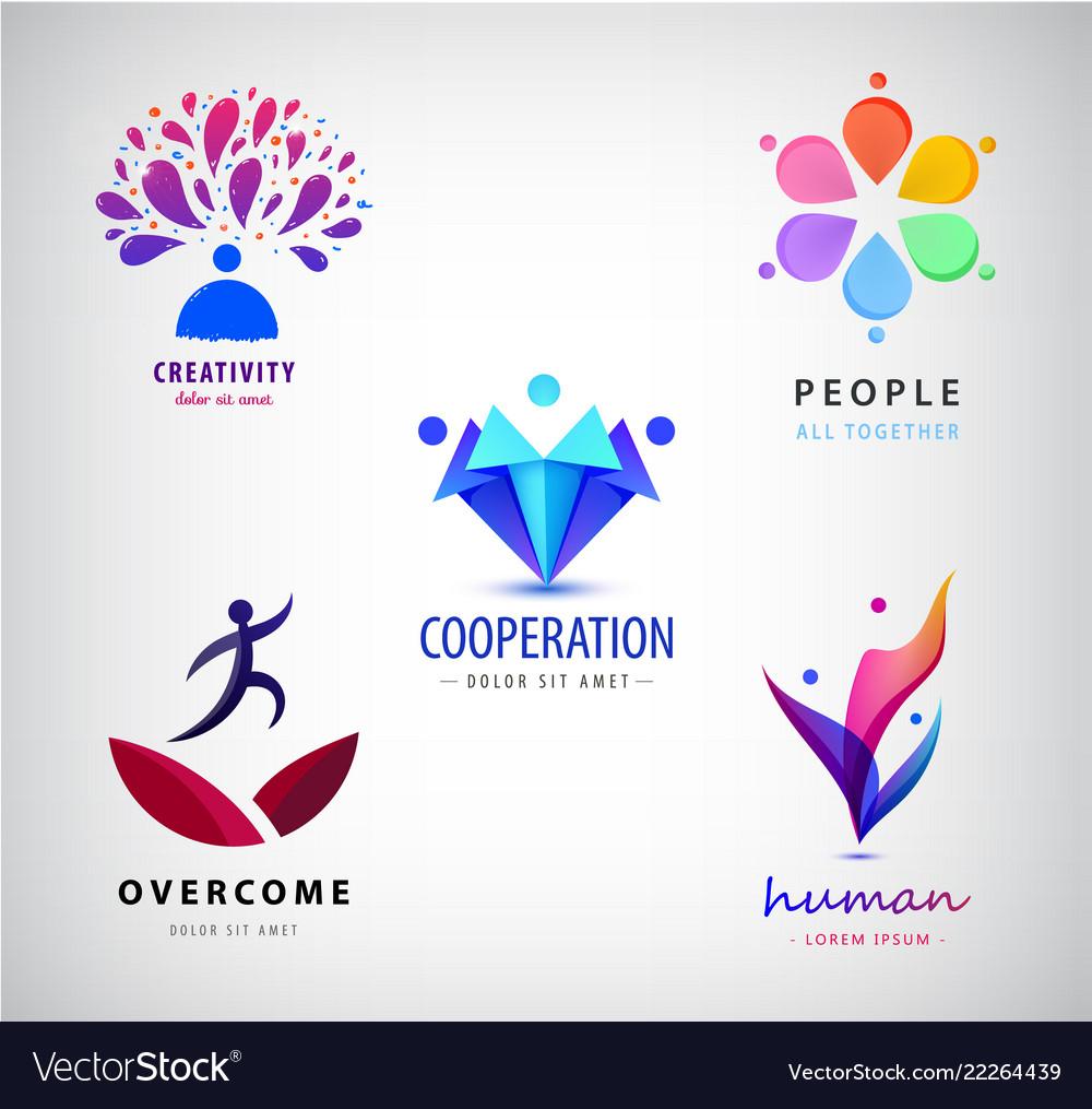 Set logos creative team creative mind