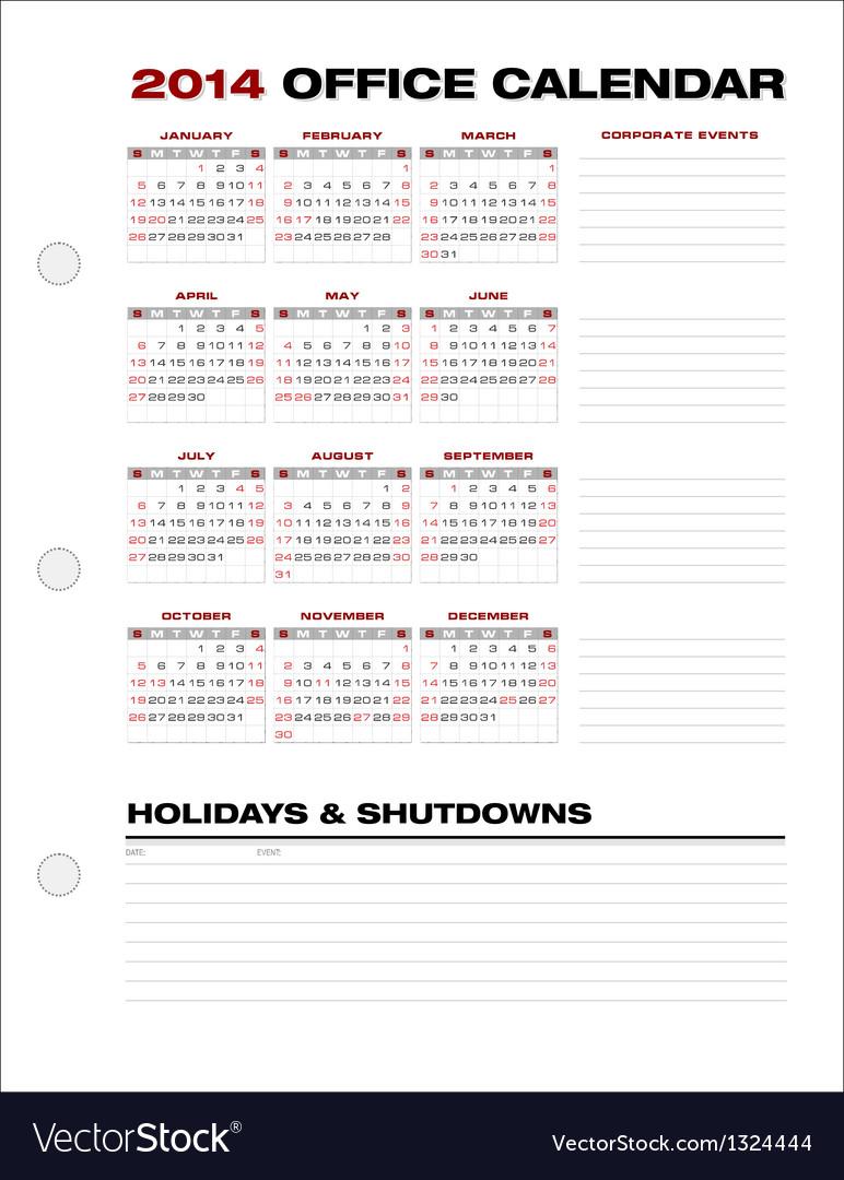 2014 Clean Corporate Office Calendar