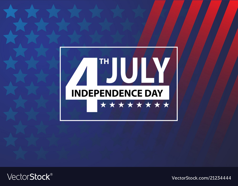 4th july independence day white number text frame